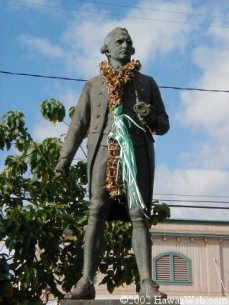 Cook welcomes visitors to Waimea, West Kauai