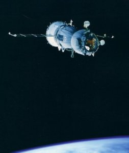A Russian Soyuz transport in low earth orbit