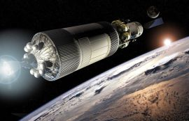 Artist rendition of Crew Exploration Vehicle (CEV) leaving Earth orbit