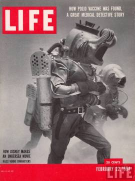 Life cover from 22 February 1954 featuring shot of film 20,000 Leagues Under the Sea
