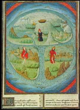 Mappa Mundi showing Noah's ark and three sons on three continents in La Fleur des Histoires, Valenciennes, 1459-63