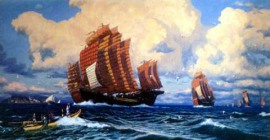 Zheng He's Fleet sailing the Western (Indian) Ocean, 1405-1433. 20th century, artist unknown