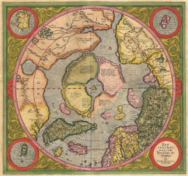 Septentrionalium Terrarum Descriptio, Gerard Mercator, 1611. A polar projection showing islands and open water at the North Pole.
