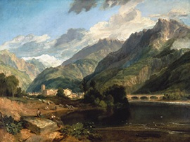 """Bonneville, Savoy, with Mount Blanc,"" J M W Turner, 1803"