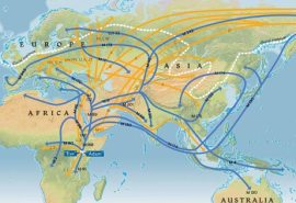 Possible human migration routes out of Africa ~100,000 BCE based on DNA evidence, courtesy National Geographic Maps