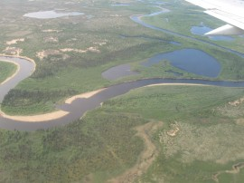 Pechora River near the northern delta, 68 N latitude.