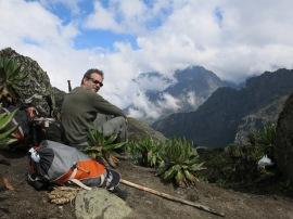 Bamwanjara Pass, 14,600 ft (4450 m), Rwenzori Mountains