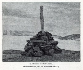 Rescue Beacon. The Peirce Pendulum Rock Cairn on Stalknecht Island. Credit: NOAA